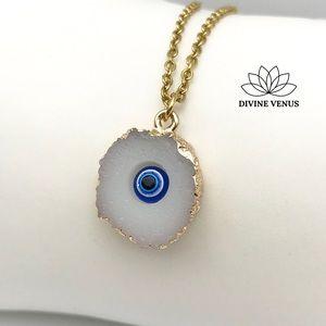 Evil Eye Druzy Necklace